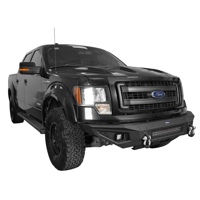 Hooke Road Full Width Front Bumper w/120W LED Light Bar(09-14 Ford F-150,Excluding Raptor)