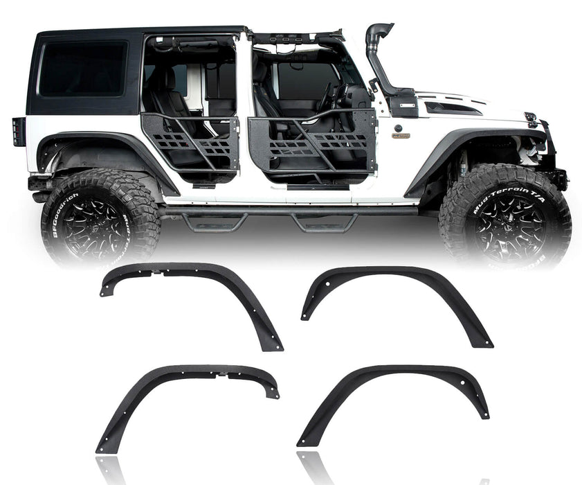 Hooke Road Jeep Wrangler JK Front And Rear Fender Flares for Jeep Wrangler JK 2007-2018 BXG134 u-Box offroad 2