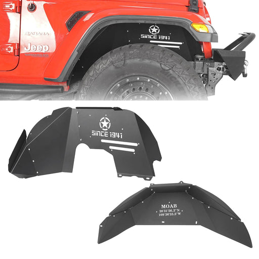 Hooke Road® Front & Rear Inner Fender Liners For 2018-2020 Jeep Wrangler JL BXG519520 2