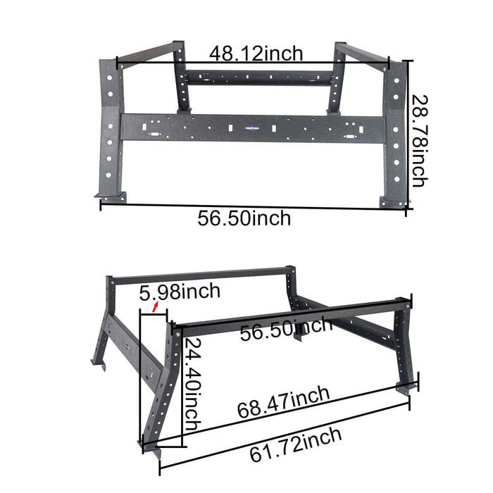 "Full Width Front Bumper / Rear Bumper / 24.4"" High Bed Rack(13-18 Dodge Ram 1500,Excluding Rebel)"