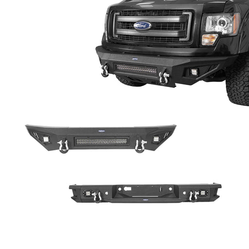 Hooke Road Full-Width Front Bumper & Rear Bumper(09-14 Ford F-150, Excluding Raptor)