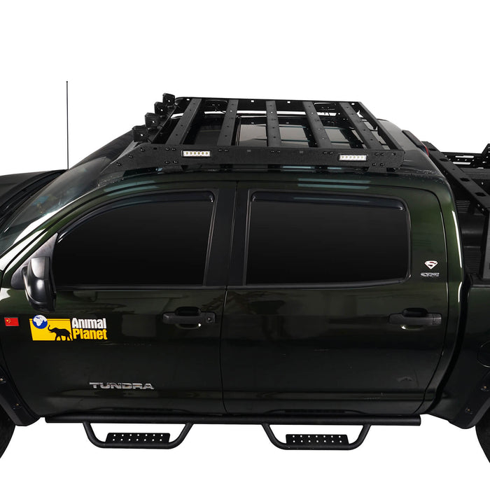 Hooke Road® Front Bumper w/Hoop , Rear Bumper , Roof Rack w/Lights(07-13 Toyota Tundra)