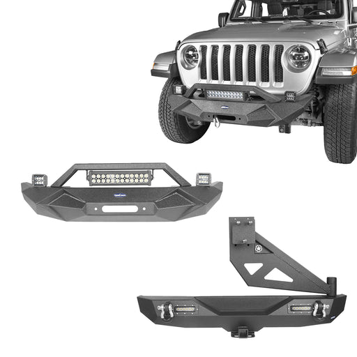 Front Bumper & Rear Bumper w/Tire Carrier(18-21 Jeep Wrangler JL)