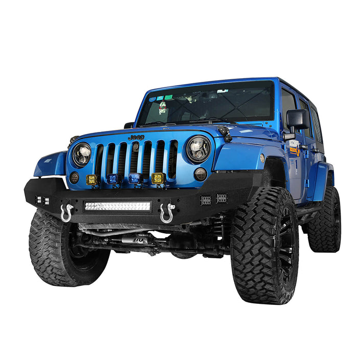 Hooke Road® Full width Front Bumper & Rear Bumper w/Oil Drum Rack Bar(07-18 Jeep Wrangler JK)