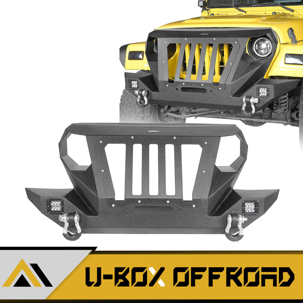 Hooke Road Opar Front Bumper with 2 D-Rings & Winch Plate for 1997-2006 TJ BXG172 u-Box Offroad 1