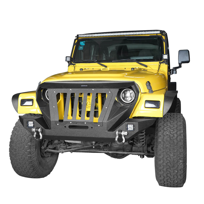 Hooke Road Opar Front Bumper with 2 D-Rings & Winch Plate for 1997-2006 TJ BXG172 u-Box Offroad 3
