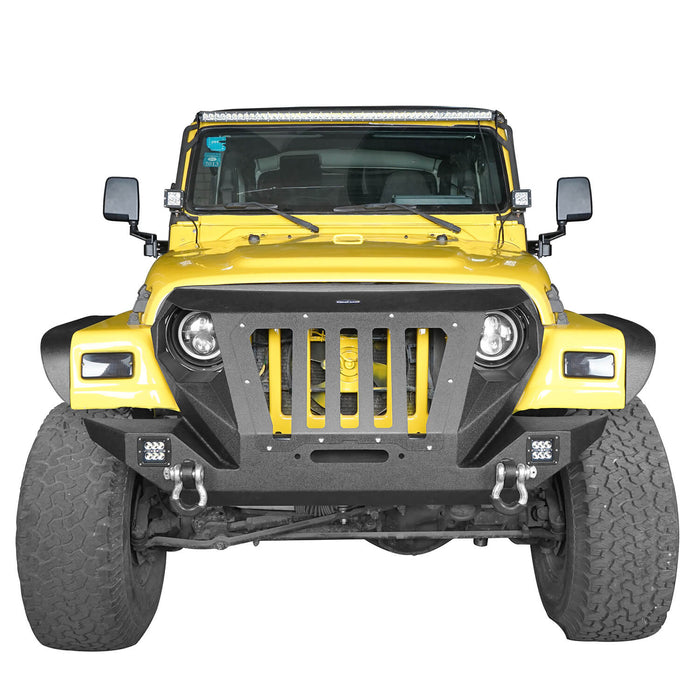 Hooke Road Opar Front Bumper with 2 D-Rings & Winch Plate for 1997-2006 TJ BXG172 u-Box Offroad 4