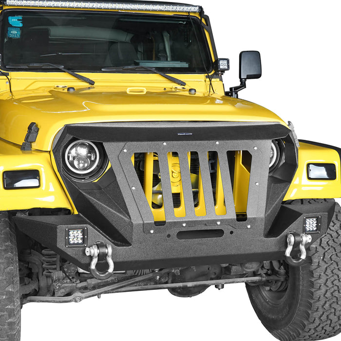 Hooke Road Opar Front Bumper with 2 D-Rings & Winch Plate for 1997-2006 TJ BXG172 u-Box Offroad 5