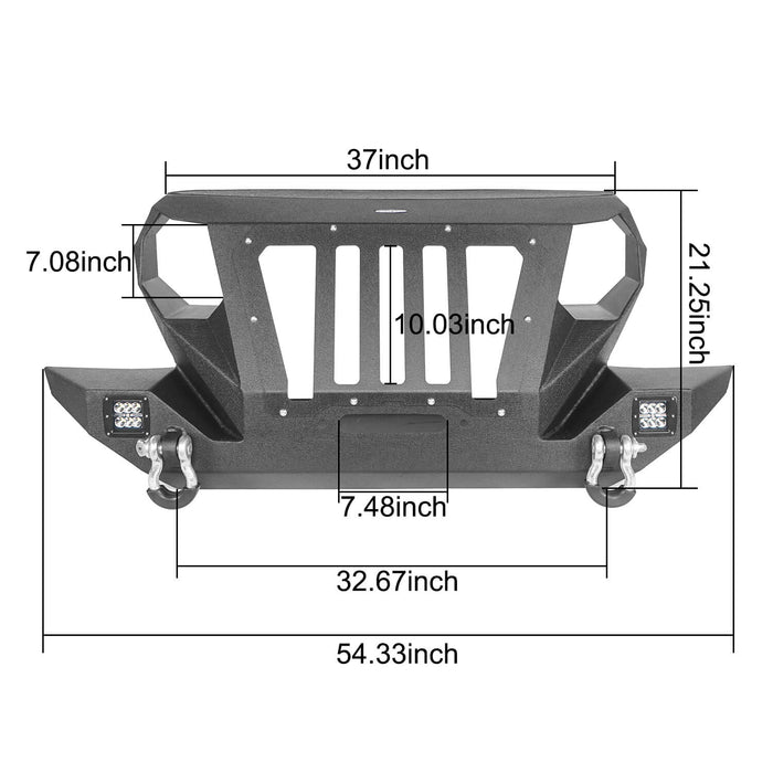 Hooke Road Opar Front Bumper with 2 D-Rings & Winch Plate for 1997-2006 TJ BXG172 u-Box Offroad 9