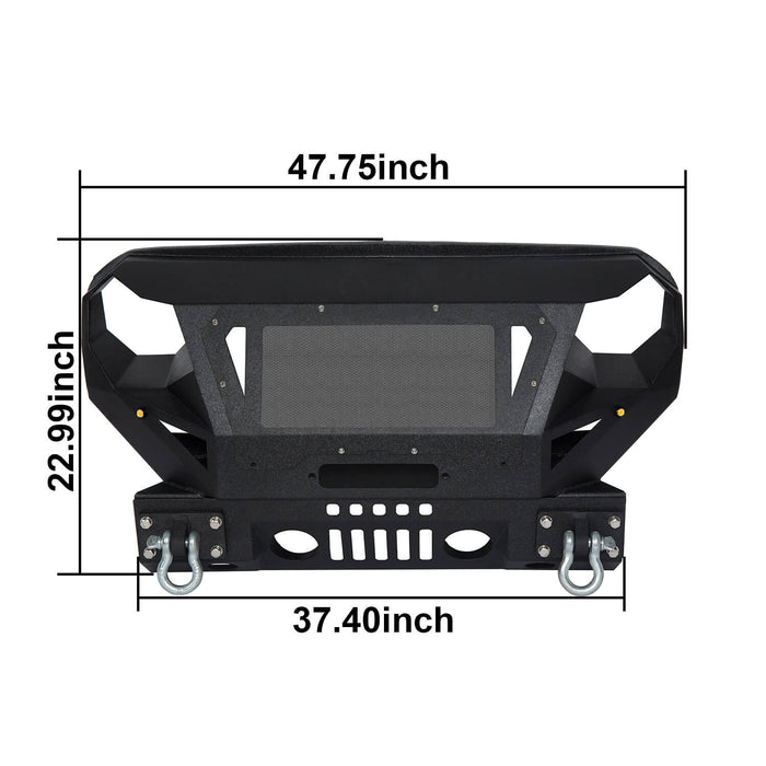 Hooke Road Bumper Front Bumper with Grill Guard and Winch Plate for Jeep Wrangler JK 2007-2018 BXG112 u-Box Offroad 10