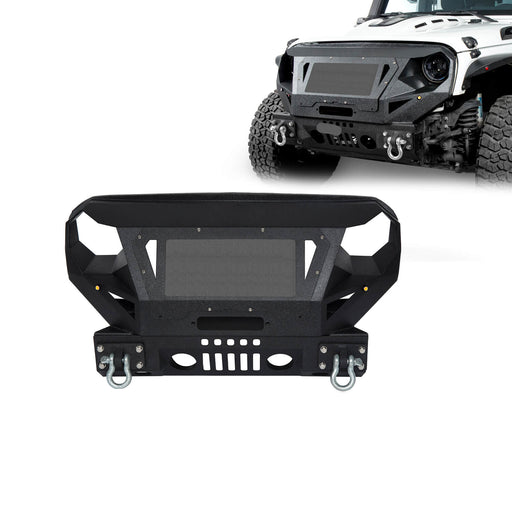 Hooke Road Bumper Front Bumper with Grill Guard and Winch Plate for Jeep Wrangler JK 2007-2018 BXG112 u-Box Offroad 2
