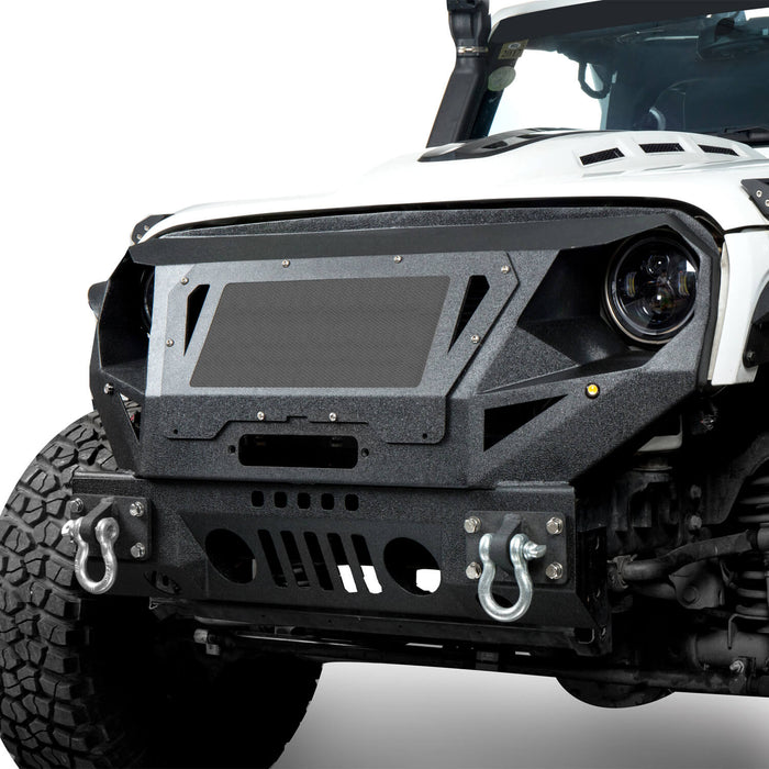 Hooke Road Bumper Front Bumper with Grill Guard and Winch Plate for Jeep Wrangler JK 2007-2018 BXG112 u-Box Offroad 3
