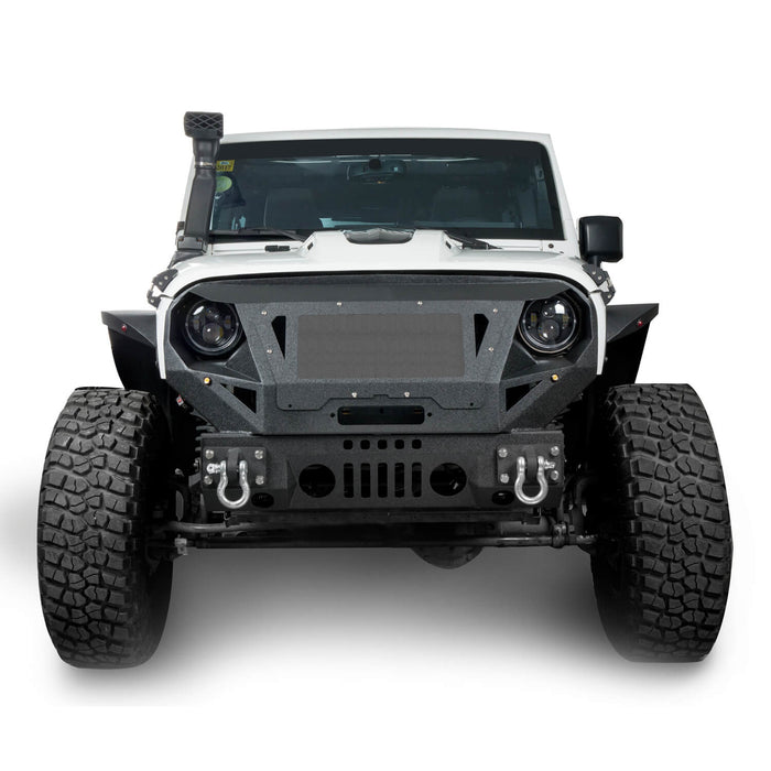 Hooke Road Bumper Front Bumper with Grill Guard and Winch Plate for Jeep Wrangler JK 2007-2018 BXG112 u-Box Offroad 4