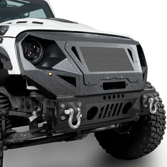 Hooke Road Bumper Front Bumper with Grill Guard and Winch Plate for Jeep Wrangler JK 2007-2018 BXG112 u-Box Offroad 5