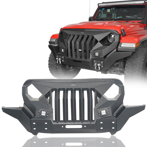 Hooke Road® Mad Max Front Bumper Grill w/Wings & LED Lights(18-21 Jeep Wrangler JL & 20-21 Jeep Gladiator JT)