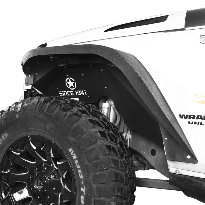 Hooke Road Jeep JK Front Inner Fender Liners w/Since 1941 Logo for 2007-2018 Jeep Wrangler JK u-Box 5