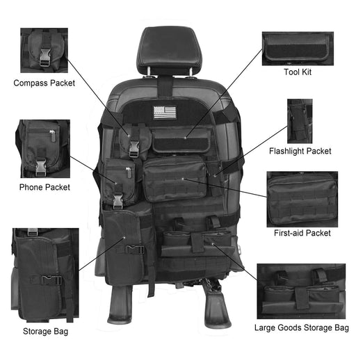 Rodeo Trail Front Seat Cover Case w/Organizer Storage Bag(15-20 Jeep JK 07-18 & Ford F-150)