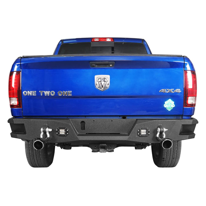 Hooke Road Full Width Front Bumper, Rear Bumper, Roll Bar Cage Bed Rack Luggage Basket(13-18 Dodge Ram)