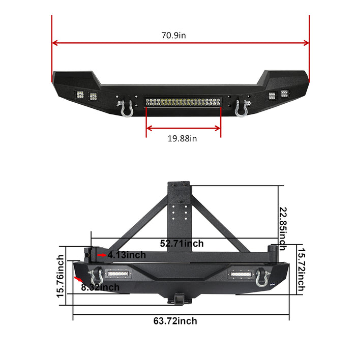 Hooke Road® Full width Front Bumper & Rear Bumper w/Tire Carrier(07-18 Jeep Wrangler JK)