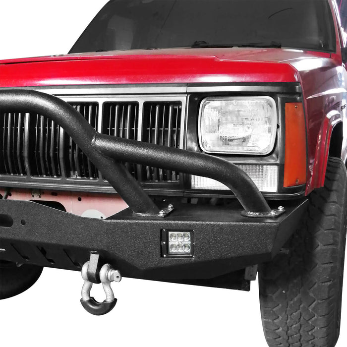 Hooke Road Destroyer Full Width Front Bumper w/2 ×18W LED Spotlights for Jeep Cherokee XJ 1984-2001 BXG320 u-Box Offroad 6