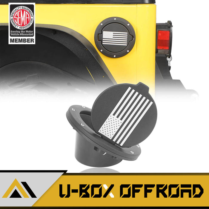 Gas Cap Fuel Tank Cover w/Flag Logo(97-06 Jeep Wrangler TJ)