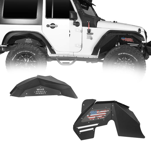 Hooke Road® Inner Fender Liners Kit Distressed US Flag(07-18 Jeep Wrangler JK 2/4 Door)