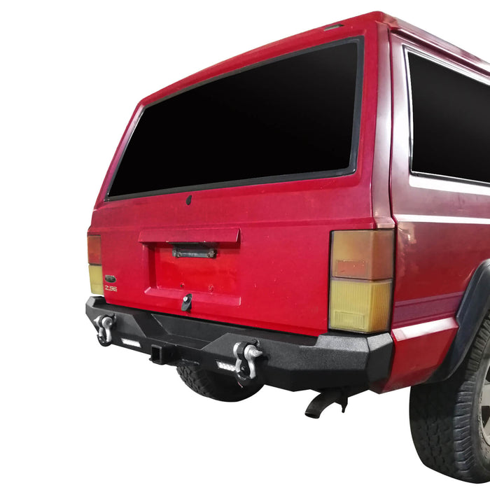 Hooke Road Destroyer Rear Bumper w/2 ×18W LED Floodlights for Jeep Cherokee XJ 1984-2001 BXG321 u-Box Offroad  3