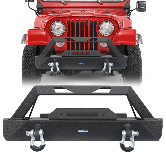 Hooke Road Jeep CJ Stubby Front Bumper with Winch Plate for 1976-1986 Jeep Wrangler CJ u-Box Offroad Jeep CJ Bumpers BXG9015 2