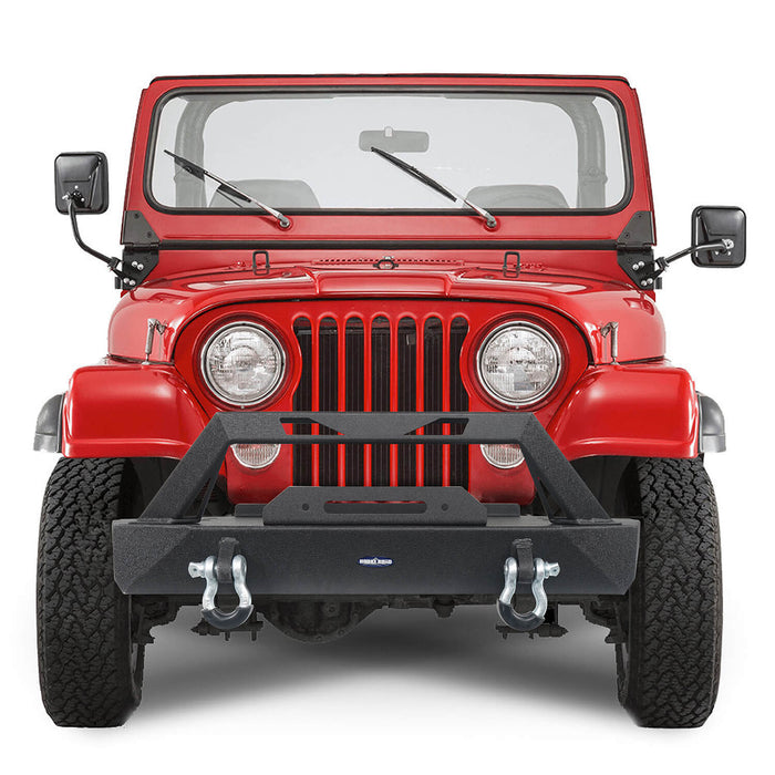 Hooke Road Jeep CJ Stubby Front Bumper with Winch Plate for 1976-1986 Jeep Wrangler CJ u-Box Offroad Jeep CJ Bumpers BXG9015 3