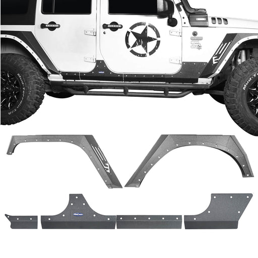 Hooke Road Jeep JK Armour Fender Flares Body Armor Cladding for Jeep Wrangler JK 2007-2018 BXG208BXG213 Jeep Accessories u-Box offroad 2