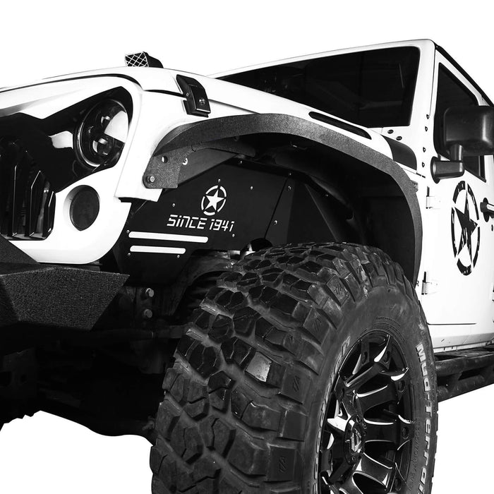 Hooke Road Armour Fender Flares Kit Inner Fender Liners for Jeep Wrangler JK 2007-2018 Jeep JK Metal Fenders Jeep JK Accessories BXG208MMR1760BXG223 u-Box offroad 12