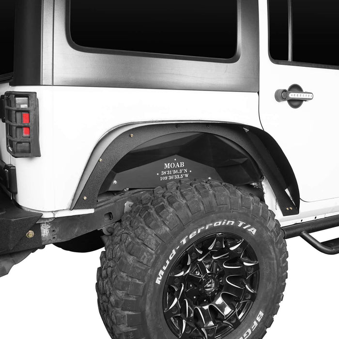 Hooke Road Armour Fender Flares Kit Inner Fender Liners for Jeep Wrangler JK 2007-2018 Jeep JK Metal Fenders Jeep JK Accessories BXG208MMR1760BXG223 u-Box offroad 16
