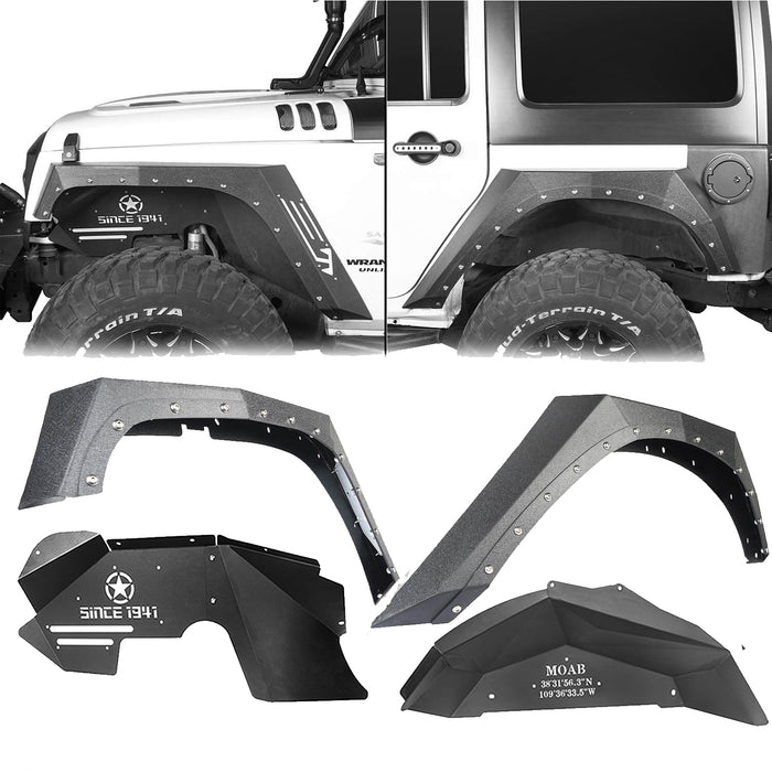 Hooke Road Armour Fender Flares Kit Inner Fender Liners for Jeep Wrangler JK 2007-2018 Jeep JK Metal Fenders Jeep JK Accessories BXG208MMR1760BXG223 u-Box offroad 2