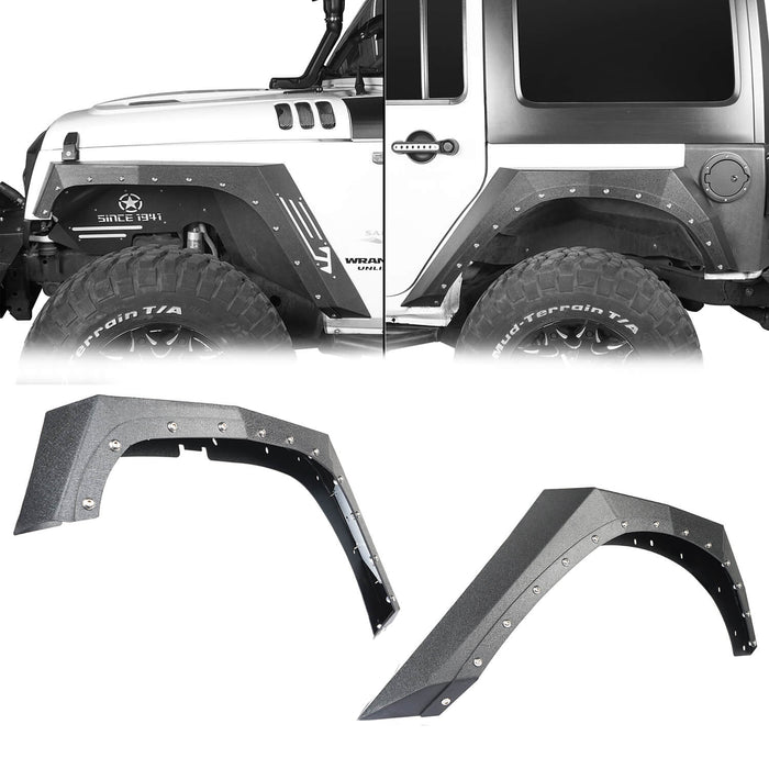 Hooke Road Armour Fender Flares Kit Inner Fender Liners for Jeep Wrangler JK 2007-2018 Jeep JK Metal Fenders Jeep JK Accessories BXG208MMR1760BXG223 u-Box offroad 4