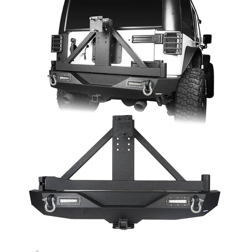 Hooke Road Jeep JK Explorer Rear Bumper with Tire Carrier and Hitch Receiver for Jeep Wrangler JK 2007-2018 BXG115 u-Box offroad 2