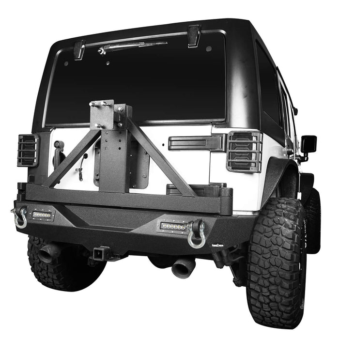 Hooke Road Jeep JK Explorer Rear Bumper with Tire Carrier and Hitch Receiver for Jeep Wrangler JK 2007-2018 BXG115 u-Box offroad 3