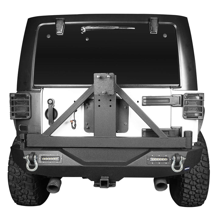 Hooke Road Jeep JK Explorer Rear Bumper with Tire Carrier and Hitch Receiver for Jeep Wrangler JK 2007-2018 BXG115 u-Box offroad 4