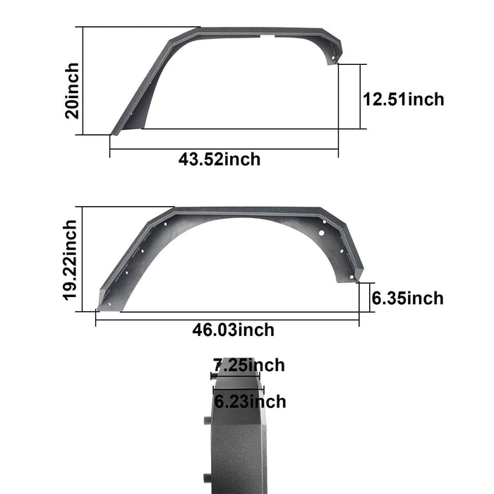 Hooke Road Jeep JK Front Rear Inner Fender Liners Flat Fender Flares for Jeep Wrangler JK 2007-2018 BXG007BXG223MMR1760 Jeep Exterior Parts Jeep JK Accessories u-Box offroad 8