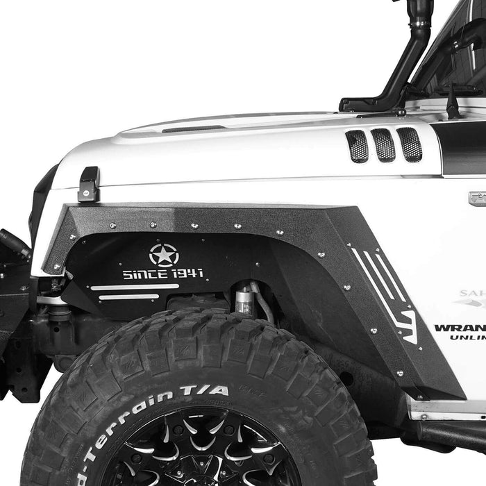 Hooke Road Jeep JK Fender Flares Armour Style Front and Rear Kit for Jeep Wrangler JK 2007-2018 BXG208 Jeep JK Metal Fenders Jeep JK Accessories u-Box offroad 4