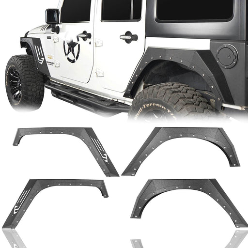 Hooke Road Jeep JK Fender Flares Armour Style Front and Rear Kit for Jeep Wrangler JK 2007-2018 BXG208 Jeep JK Metal Fenders Jeep JK Accessories u-Box offroad