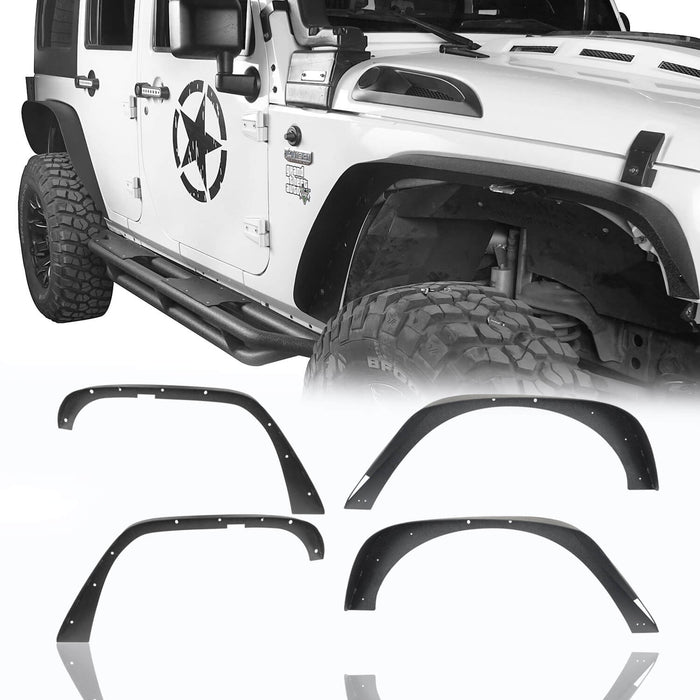 Flat Fender Flares & Black Cross Bars Roof Rack(07-18 Jeep Wrangler JK)