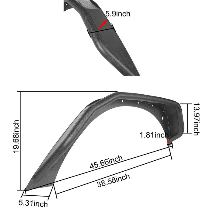 Hooke Road Jeep JK Flux Tubular Fender Flares & Inner Fender Liners for Jeep Wrangler JK 2007-2018 Jeep JK Metal Fenders Jeep JK Accessories  BXG089MMR1760BXG223 u-Box offroad 17