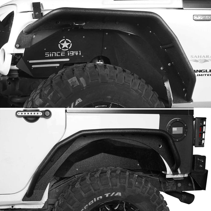 Hooke Road Jeep JK Flux Tubular Fender Flares & Inner Fender Liners for Jeep Wrangler JK 2007-2018 Jeep JK Metal Fenders Jeep JK Accessories  BXG089MMR1760BXG223 u-Box offroad 5