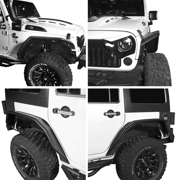 Hooke Road Jeep JK Flux Tubular Fender Flares & Inner Fender Liners for Jeep Wrangler JK 2007-2018 Jeep JK Metal Fenders Jeep JK Accessories  BXG089MMR1760BXG223 u-Box offroad 6
