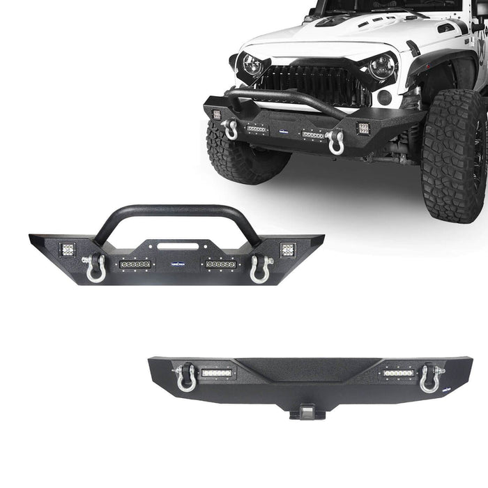 Hooke Road Jeep JK Front and Rear Bumper Combo for Jeep Wrangler JK 2007-2018 bxg116143 JK Front and Rear Bumper Package Different Trail Front Bumper Different Trail Rear Bumper u-Box Offroad 2