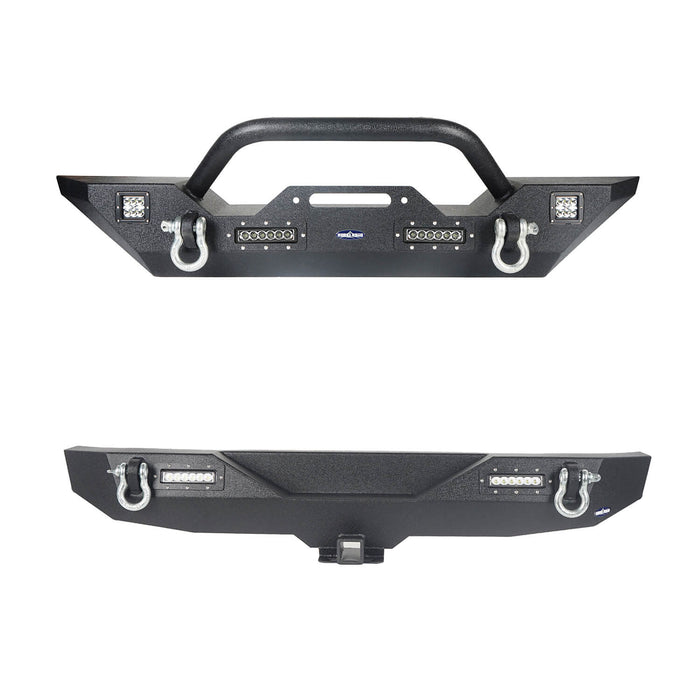 Hooke Road Jeep JK Front and Rear Bumper Combo for Jeep Wrangler JK 2007-2018 bxg116143 JK Front and Rear Bumper Package Different Trail Front Bumper Different Trail Rear Bumper u-Box Offroad 3