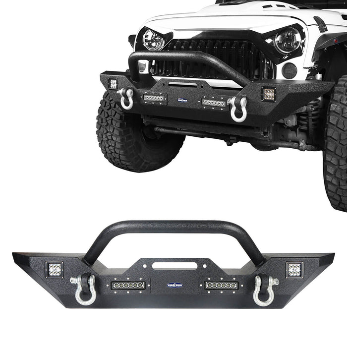 Hooke Road Jeep JK Front and Rear Bumper Combo for Jeep Wrangler JK 2007-2018 bxg116143 JK Front and Rear Bumper Package Different Trail Front Bumper Different Trail Rear Bumper u-Box Offroad 4