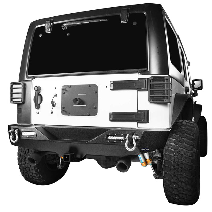 Hooke Road Jeep JK Front and Rear Bumper Combo for 2007-2018 Jeep Wrangler JK Jeep JK Stubby Front Bumper Blade Master Front Bumper Different Trail Rear Bumper JK Front and Rear Bumper Package u-Box Offroad 10