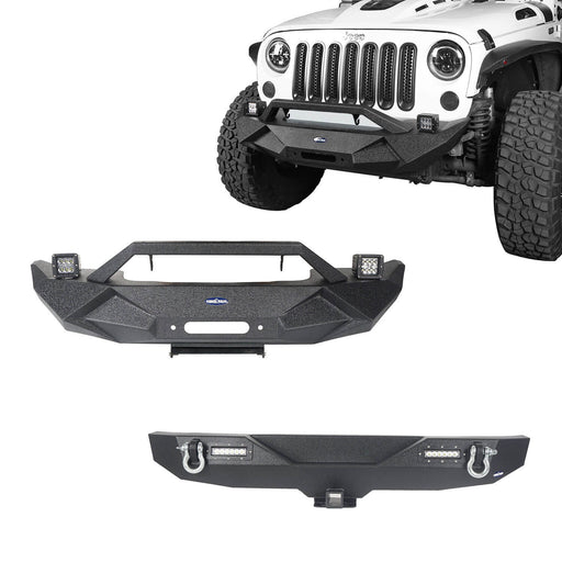 Hooke Road Jeep JK Front and Rear Bumper Combo for 2007-2018 Jeep Wrangler JK Jeep JK Stubby Front Bumper Blade Master Front Bumper Different Trail Rear Bumper JK Front and Rear Bumper Package u-Box Offroad 2