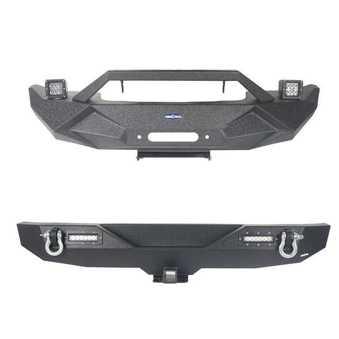 Hooke Road Jeep JK Front and Rear Bumper Combo for 2007-2018 Jeep Wrangler JK Jeep JK Stubby Front Bumper Blade Master Front Bumper Different Trail Rear Bumper JK Front and Rear Bumper Package u-Box Offroad 3